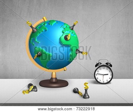 Chess Stand On 3D Map Globe With Clock