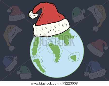 The planet in a Christmas hat