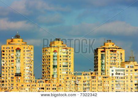 Kiev city panorama with  sky