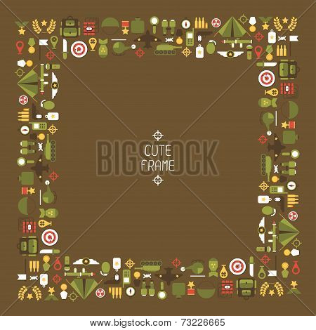 Frame of flat colorful  military and war icons set. Army infographic design elements. Illustration i