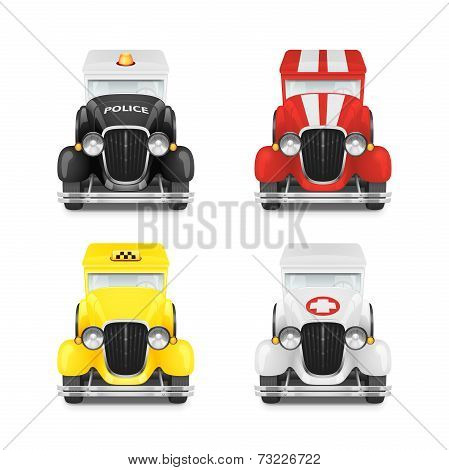 Set Retro Car Icon