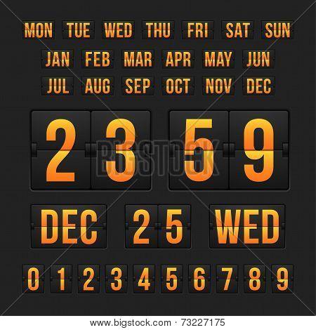 Countdown timer and date, calendar scoreboard