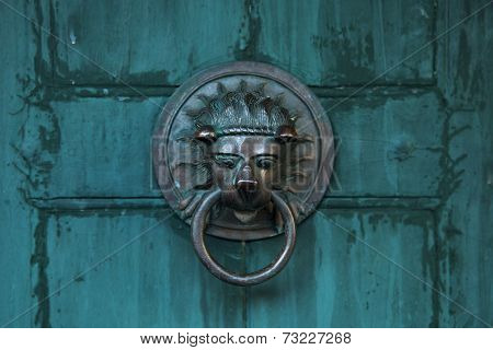 Antique Door Handle In The Form Of A Lion