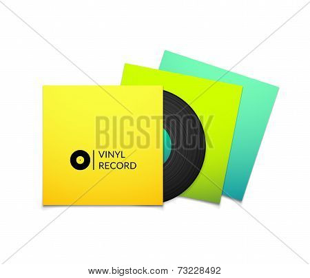 Black vintage vinyl record with blank yellow blue cyan and green cover case isolated on white backgr