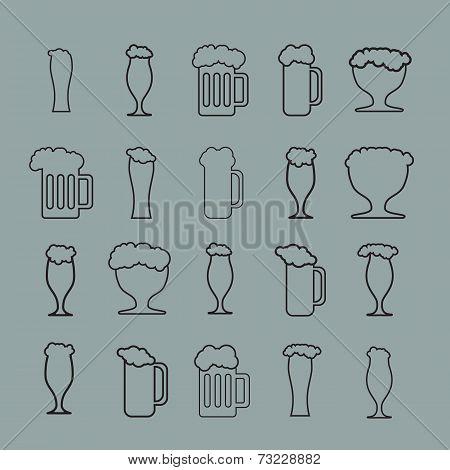 Set of twenty beer glass