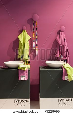Pantone Bathrobe On Display At Homi, Home International Show In Milan, Italy