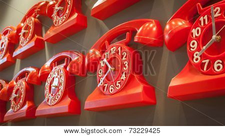 Telephone Clocks On Display At Homi, Home International Show In Milan, Italy