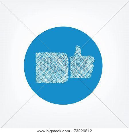 Doodle like icon on blue background.