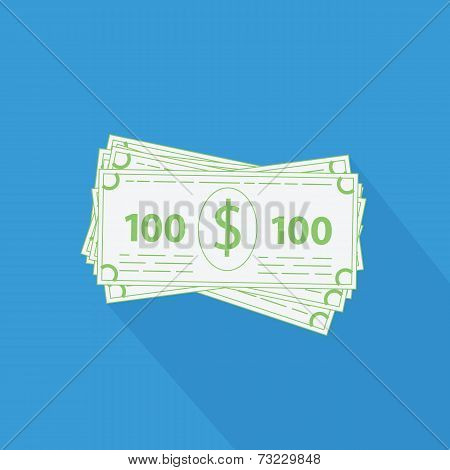 flat stack of money icon