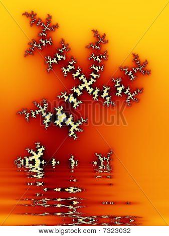 Intricate Yellow-orange Fractal Design Based On Julia Set