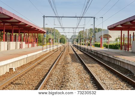 Railway Station With Two Tracks And Electric Power