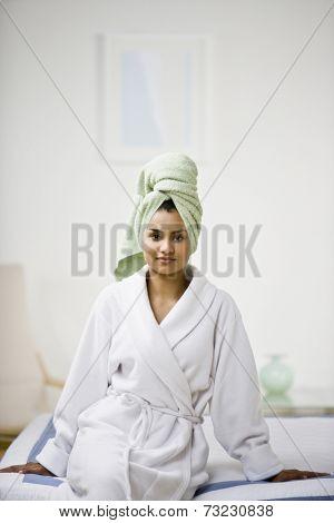 Indian woman in bathrobe