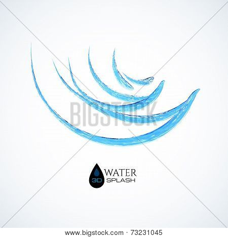 Blue 3D water splash isolated on white