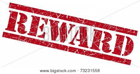 Reward Red Square Grunge Textured Isolated Stamp