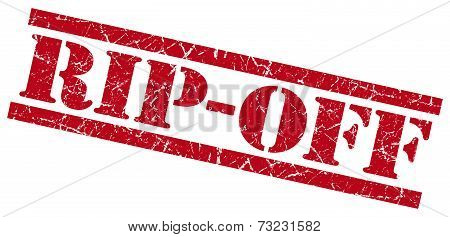 Rip-off Red Square Grunge Textured Isolated Stamp