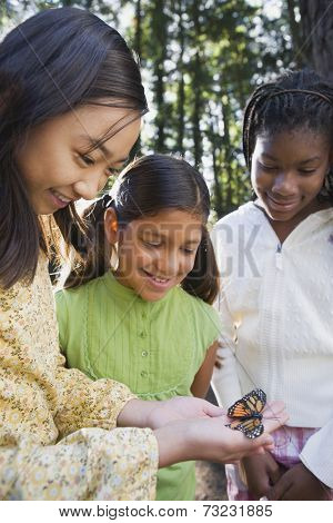 Multi-ethnic girls looking at butterfly