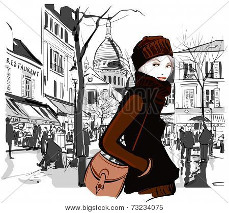 Woman in Montmartre square Paris - Vector illustration