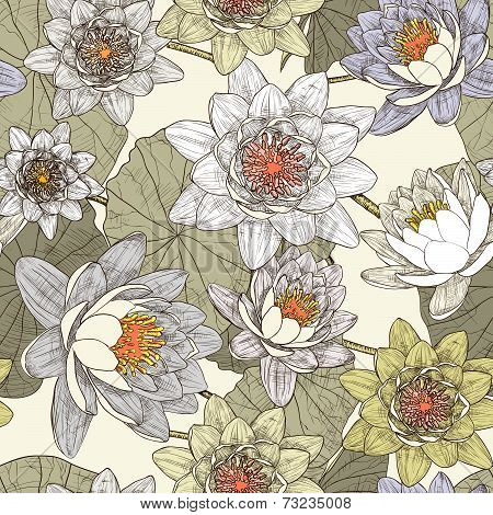 Seamless floral pattern with blooming water lilies