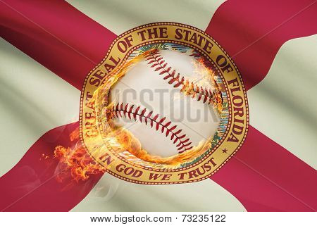 Baseball Ball With Flag On Background Series - Florida