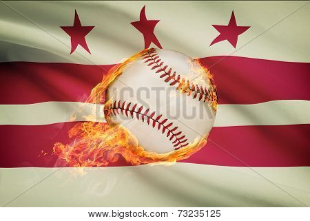 Baseball Ball With Flag On Background Series - District Of Columbia - Washington, D.c.