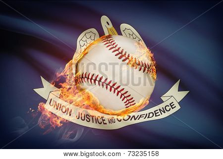 Baseball Ball With Flag On Background Series - Louisiana