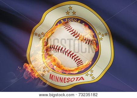 Baseball Ball With Flag On Background Series - Minnesota