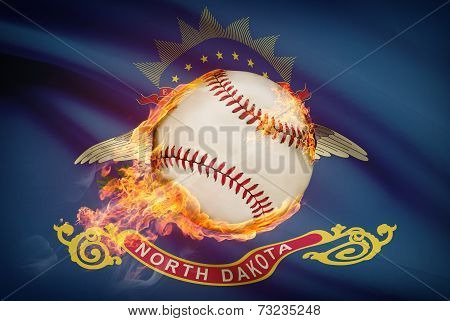 Baseball Ball With Flag On Background Series - North Dakota