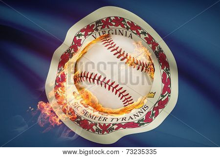 Baseball Ball With Flag On Background Series - Virginia
