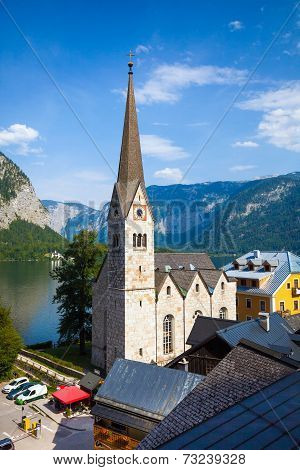 View Of Hallstatt Christuskirche Church Bell Tower