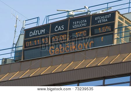 Gabcikovo, Slovakia - November 01, 2013: Information Display On The Top Of Control Tower