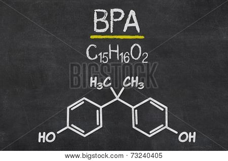 Blackboard with the chemical formula of BPA