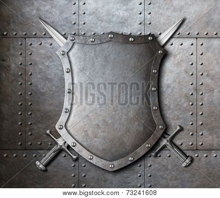 metal shield and two crossed swords over armor plates background