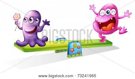 Illustration of a pink and a violet monster playing on a white background