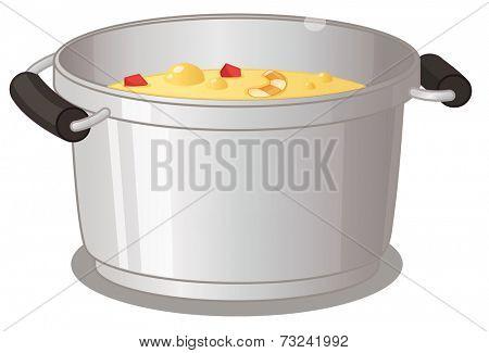 Illustration of a pot of soup