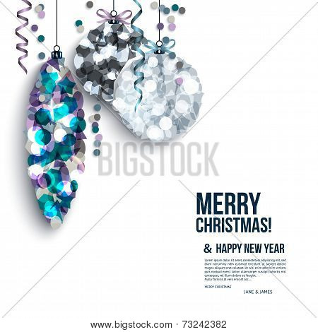 Christmas card with curled streamers and christmas balls composed of shards.
