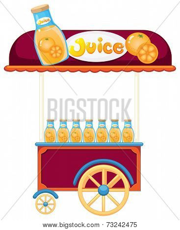 Illustration of a pushcart selling orange juice on a white background