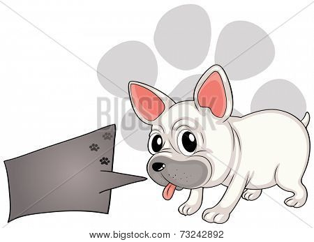Illustration of a dog with a rectangular callout on a white background