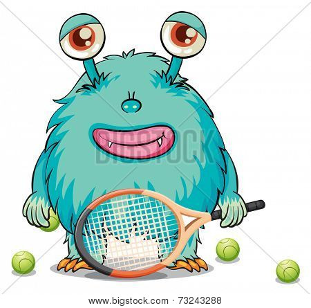 Illustration of a monster playing table tennis on a white background