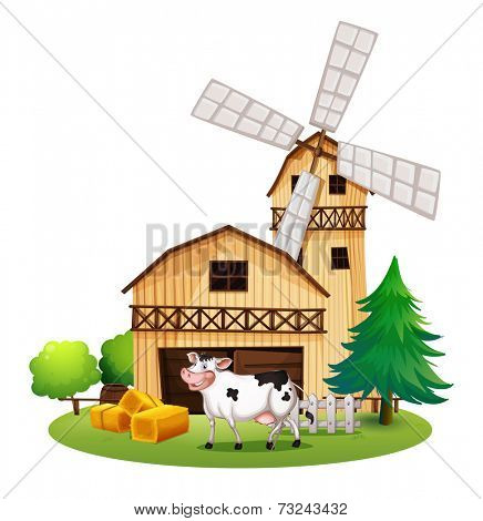 Illustration of a cow in front of the barnhouse on a white background