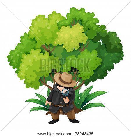 Illustration of a detective near the big tree on a white background