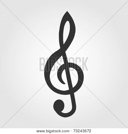treble clef icon, flat design