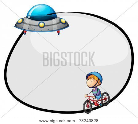 Illustration of a round empty template with a flying saucer and a boy biking on a white background