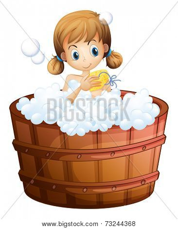 Illustration of a young girl taking a bath at the bathtub on a white background