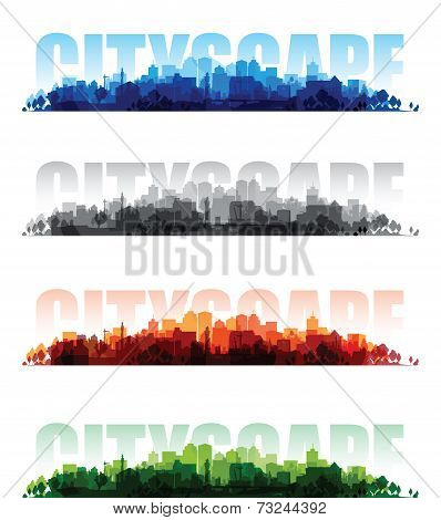 cityscape overprint background set