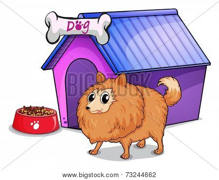 Illustration of a brown dog outside the doghouse on a white background