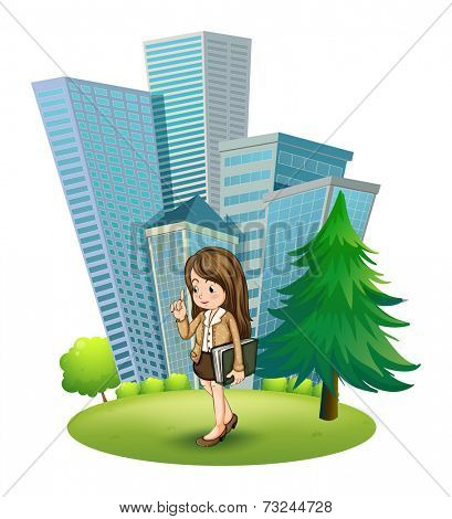 Illustration of a woman near the pine tree across the tall buildings on a white background