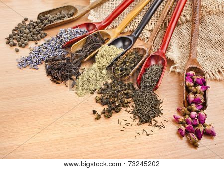 assortment of dry tea in scoops on wooden surface background, top view