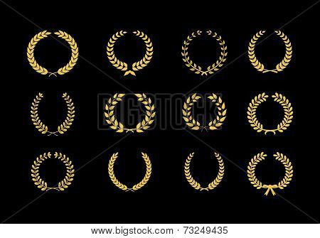 Gold Vector Laurel Wheat Floral And Foliate Wreaths And Circular Frames For Awards Heraldry Antiquit