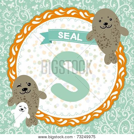Abc Animals: S Is Seal. Childrens English Alphabet. Vector