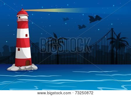 Illustration of a bright lighthouse in the middle of the sea